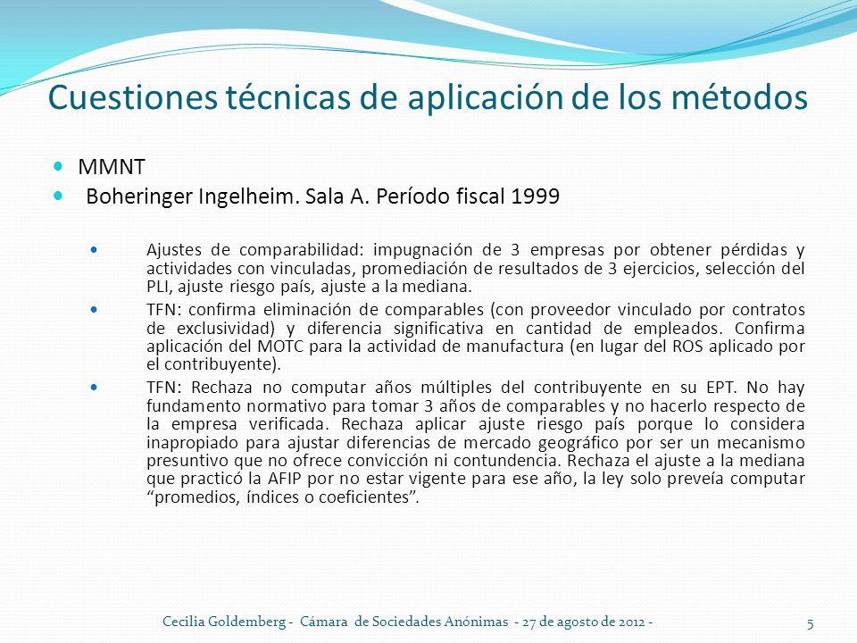 Cuestiones técnicas de aplicación de los métodos MMNT Boheringer Ingelheim. Sala A. Período fiscal 1999 Ajustes de comparabilidad: impugnación de 3 em