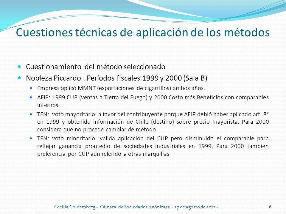 Cuestiones técnicas de aplicación de los métodos Cuestionamiento del método seleccionado Nobleza Piccardo. Períodos fiscales 1999 y 2000 (Sala B) Empr