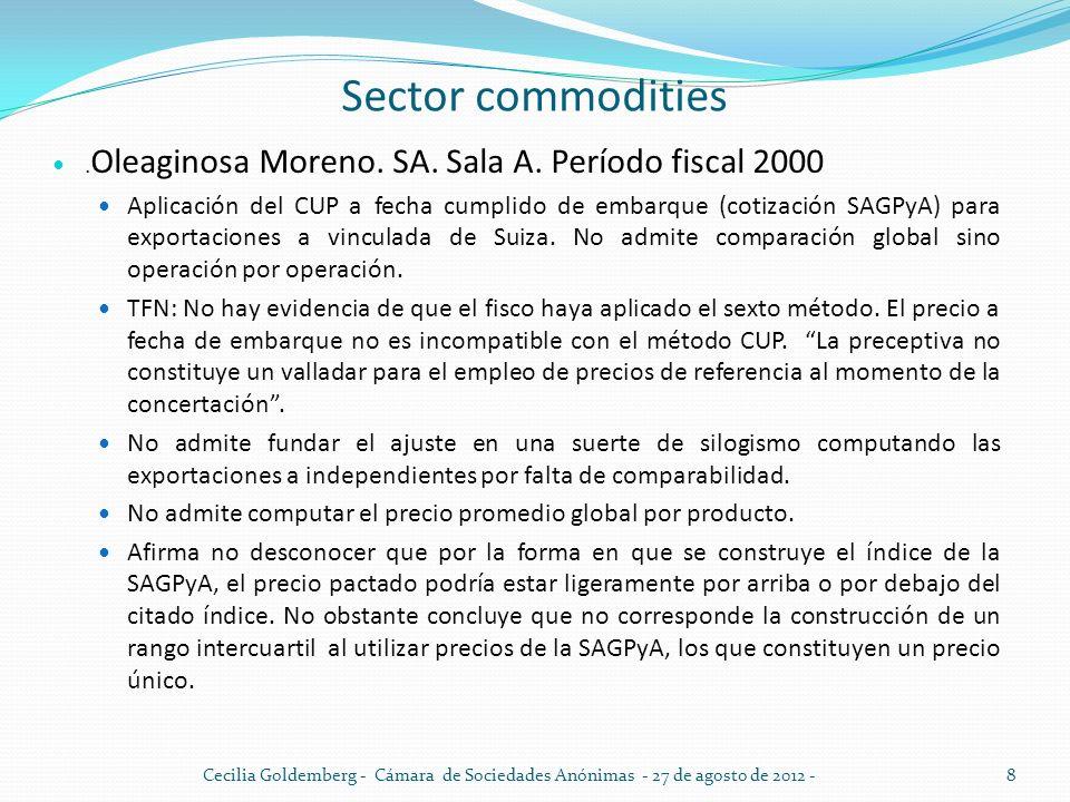 Sector commodities. Oleaginosa Moreno. SA. Sala A. Período fiscal 2000 Aplicación del CUP a fecha cumplido de embarque (cotización SAGPyA) para export