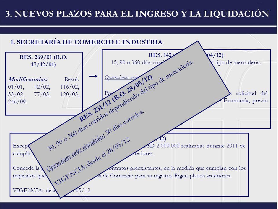 1. SECRETARÍA DE COMERCIO E INDUSTRIA 3. NUEVOS PLAZOS PARA EL INGRESO Y LA LIQUIDACIÓN RES. 269/01 (B.O. 17/12/01) Modificatorias: Resol. 01/01, 42/0
