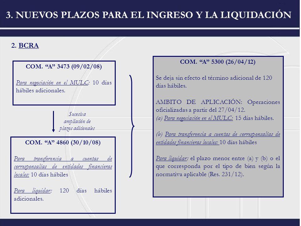 2. BCRA 3. NUEVOS PLAZOS PARA EL INGRESO Y LA LIQUIDACIÓN COM. A 3473 (09/02/08) Para negociación en el MULC: 10 días hábiles adicionales. COM. A 4860