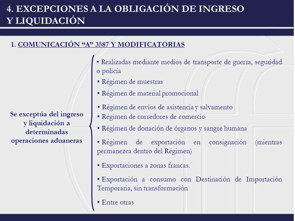 4. EXCEPCIONES A LA OBLIGACIÓN DE INGRESO Y LIQUIDACIÓN 1. COMUNICACIÓN A 3587 Y MODIFICATORIAS Se exceptúa del ingreso y liquidación a determinadas o