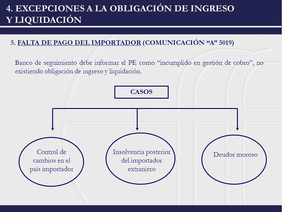 4. EXCEPCIONES A LA OBLIGACIÓN DE INGRESO Y LIQUIDACIÓN 5. FALTA DE PAGO DEL IMPORTADOR (COMUNICACIÓN A 5019) Banco de seguimiento debe informar el PE