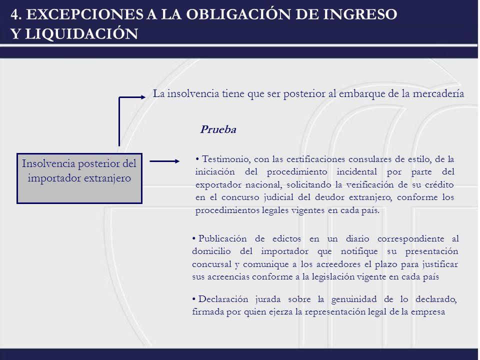 Insolvencia posterior del importador extranjero 4. EXCEPCIONES A LA OBLIGACIÓN DE INGRESO Y LIQUIDACIÓN Testimonio, con las certificaciones consulares