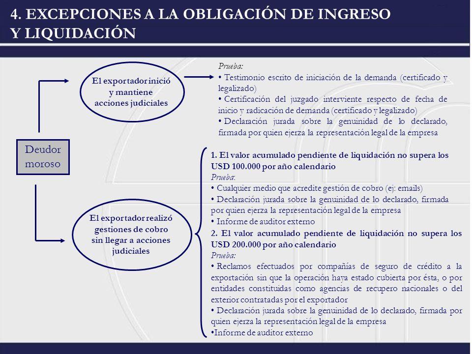 4. EXCEPCIONES A LA OBLIGACIÓN DE INGRESO Y LIQUIDACIÓN Deudor moroso El exportador inició y mantiene acciones judiciales El exportador realizó gestio