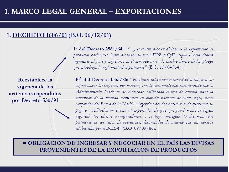 1. MARCO LEGAL GENERAL – EXPORTACIONES 1. DECRETO 1606/01 (B.O. 06/12/01) Reestablece la vigencia de los artículos suspendidos por Decreto 530/91 1° d