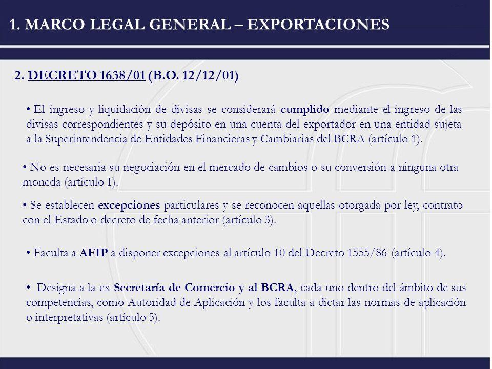 1. MARCO LEGAL GENERAL – EXPORTACIONES 2. DECRETO 1638/01 (B.O. 12/12/01) El ingreso y liquidación de divisas se considerará cumplido mediante el ingr