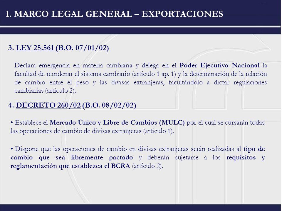 1. MARCO LEGAL GENERAL – EXPORTACIONES 3. LEY 25.561 (B.O. 07/01/02) Declara emergencia en materia cambiaria y delega en el Poder Ejecutivo Nacional l