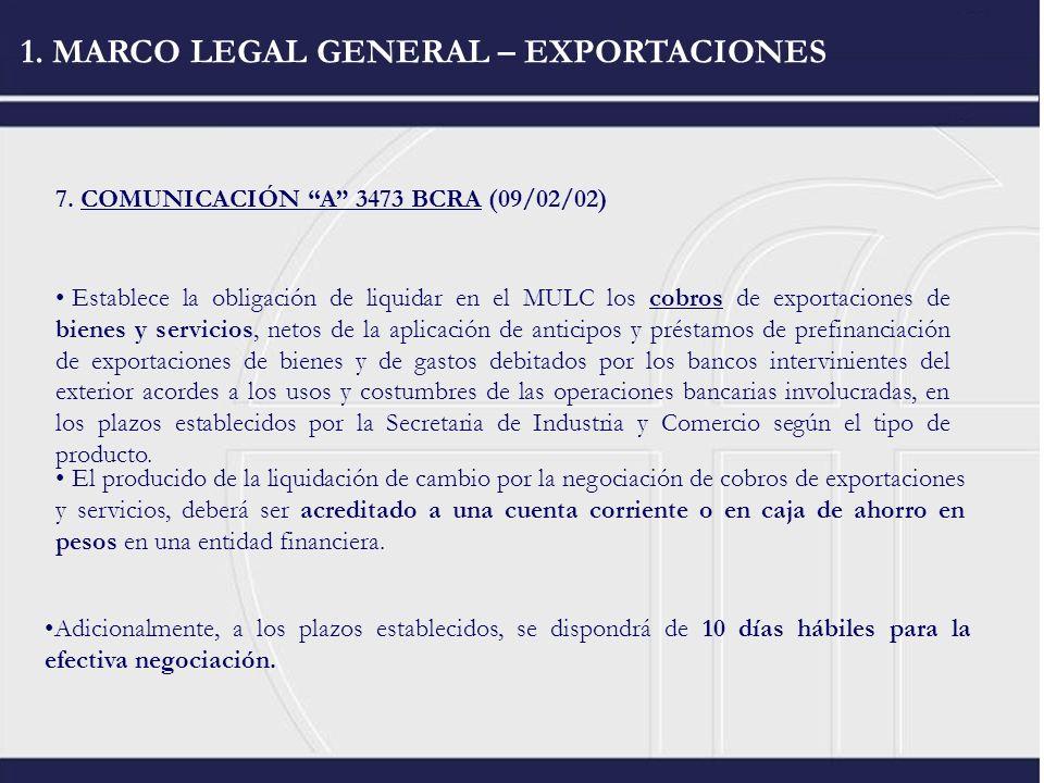 1. MARCO LEGAL GENERAL – EXPORTACIONES 7. COMUNICACIÓN A 3473 BCRA (09/02/02) Establece la obligación de liquidar en el MULC los cobros de exportacion