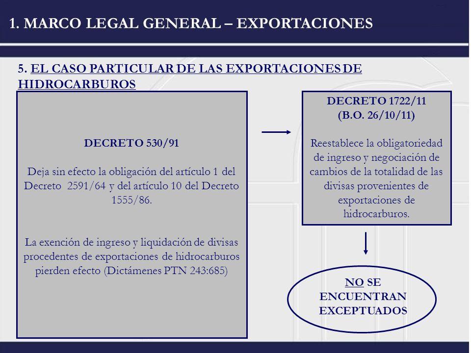 1. MARCO LEGAL GENERAL – EXPORTACIONES 5. EL CASO PARTICULAR DE LAS EXPORTACIONES DE HIDROCARBUROS DECRETO 2581/64 obligación de ingreso y liquidación