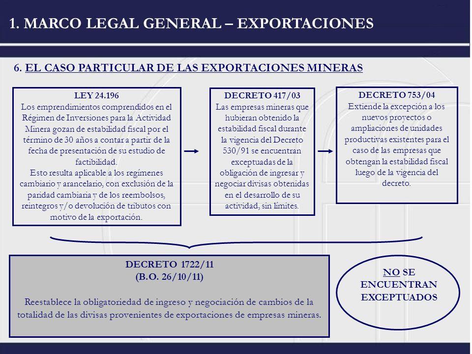 6. EL CASO PARTICULAR DE LAS EXPORTACIONES MINERAS 1. MARCO LEGAL GENERAL – EXPORTACIONES DECRETO 1722/11 (B.O. 26/10/11) Reestablece la obligatorieda