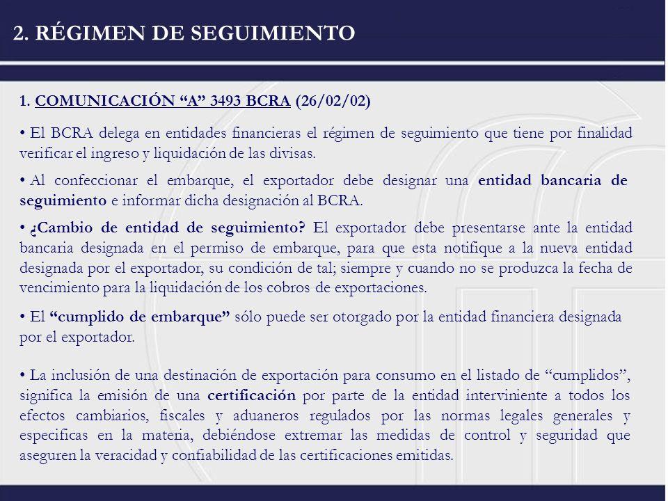 2. RÉGIMEN DE SEGUIMIENTO 1. COMUNICACIÓN A 3493 BCRA (26/02/02) El BCRA delega en entidades financieras el régimen de seguimiento que tiene por final