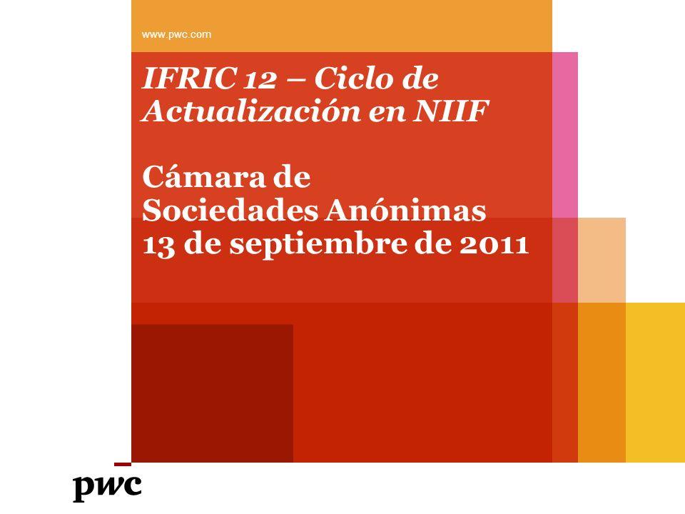 IFRIC 12 – Ciclo de Actualización en NIIF Cámara de Sociedades Anónimas 13 de septiembre de 2011 www.pwc.com