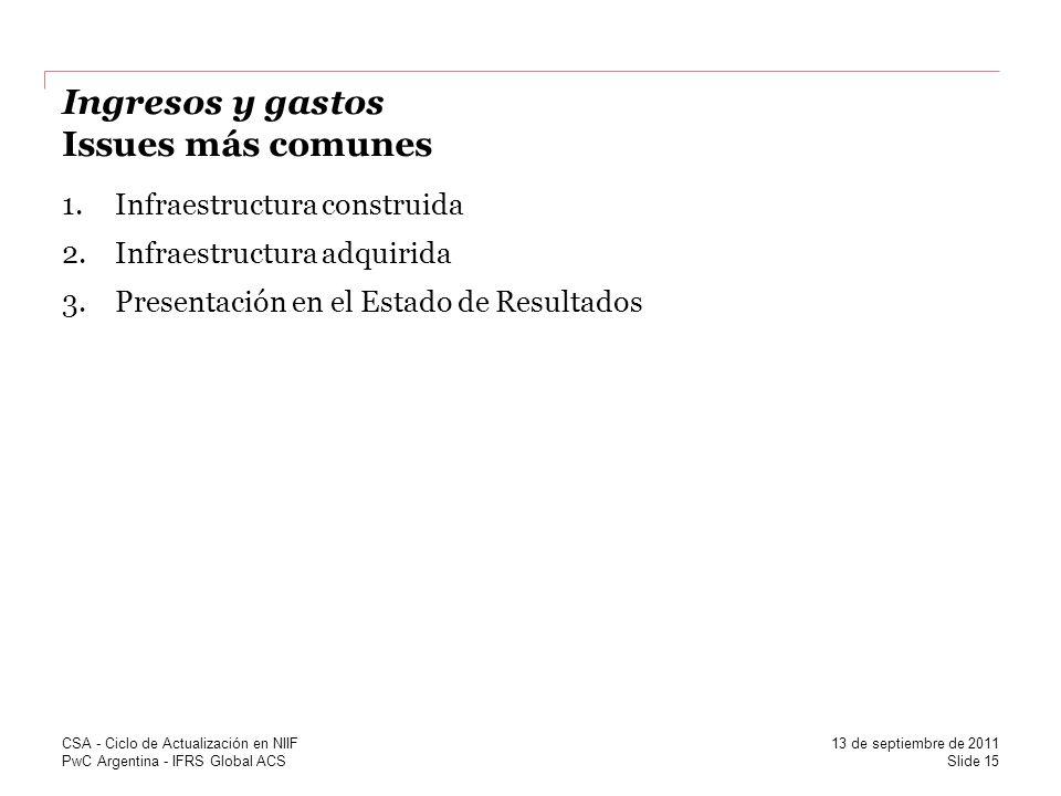 PwC Argentina - IFRS Global ACS Ingresos y gastos Issues más comunes 1.Infraestructura construida 2.Infraestructura adquirida 3.Presentación en el Est