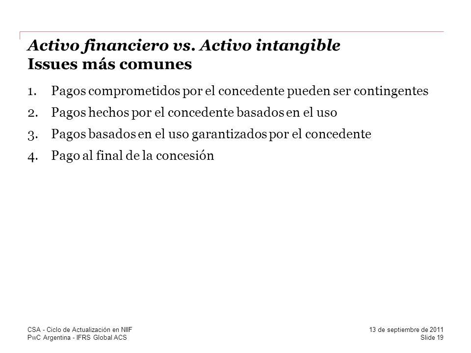 PwC Argentina - IFRS Global ACS Activo financiero vs. Activo intangible Issues más comunes 1.Pagos comprometidos por el concedente pueden ser continge