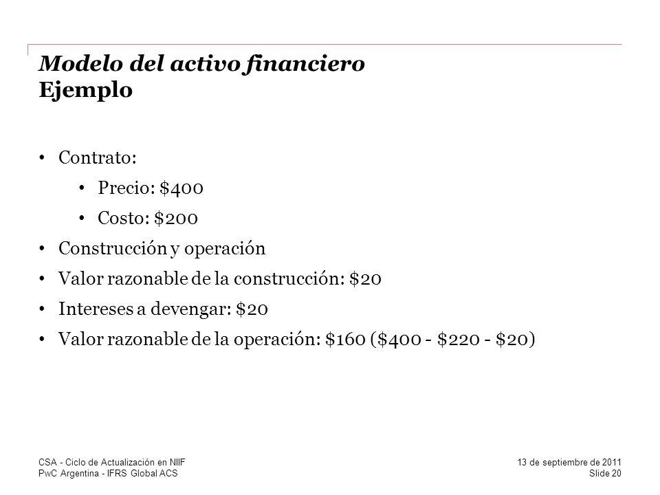 PwC Argentina - IFRS Global ACS Modelo del activo financiero Ejemplo Contrato: Precio: $400 Costo: $200 Construcción y operación Valor razonable de la