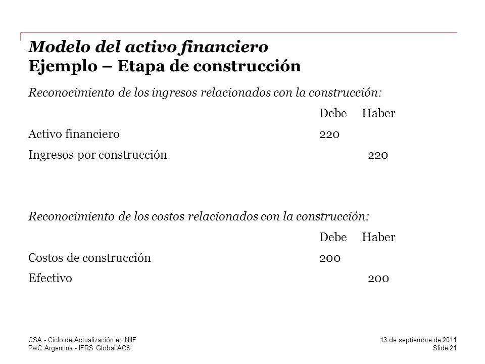 PwC Argentina - IFRS Global ACS Modelo del activo financiero Ejemplo – Etapa de construcción Reconocimiento de los ingresos relacionados con la constr