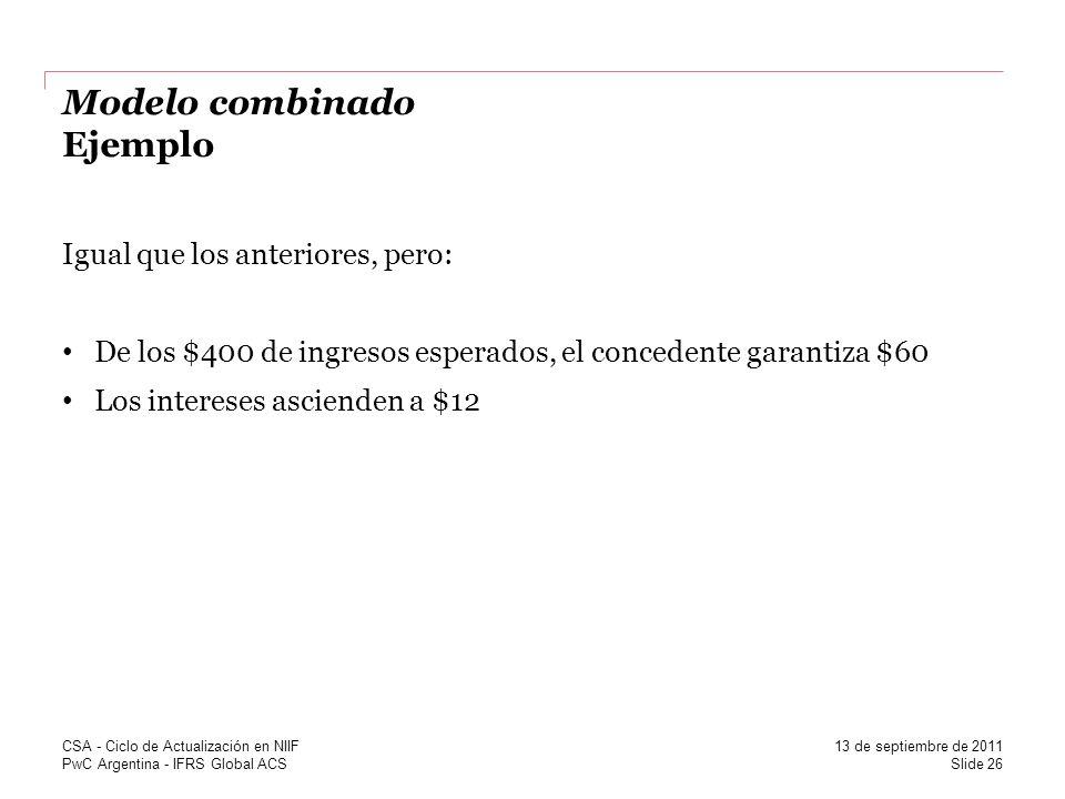 PwC Argentina - IFRS Global ACS Modelo combinado Ejemplo Igual que los anteriores, pero: De los $400 de ingresos esperados, el concedente garantiza $6