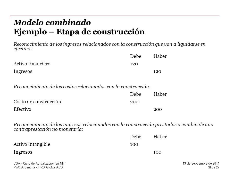 PwC Argentina - IFRS Global ACS Modelo combinado Ejemplo – Etapa de construcción Reconocimiento de los ingresos relacionados con la construcción que v