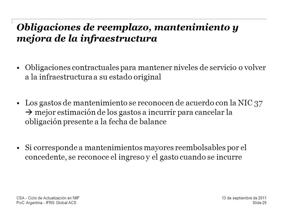 PwC Argentina - IFRS Global ACS Obligaciones de reemplazo, mantenimiento y mejora de la infraestructura Obligaciones contractuales para mantener nivel