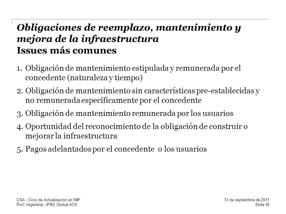 PwC Argentina - IFRS Global ACS Obligaciones de reemplazo, mantenimiento y mejora de la infraestructura Issues más comunes 1.Obligación de mantenimien