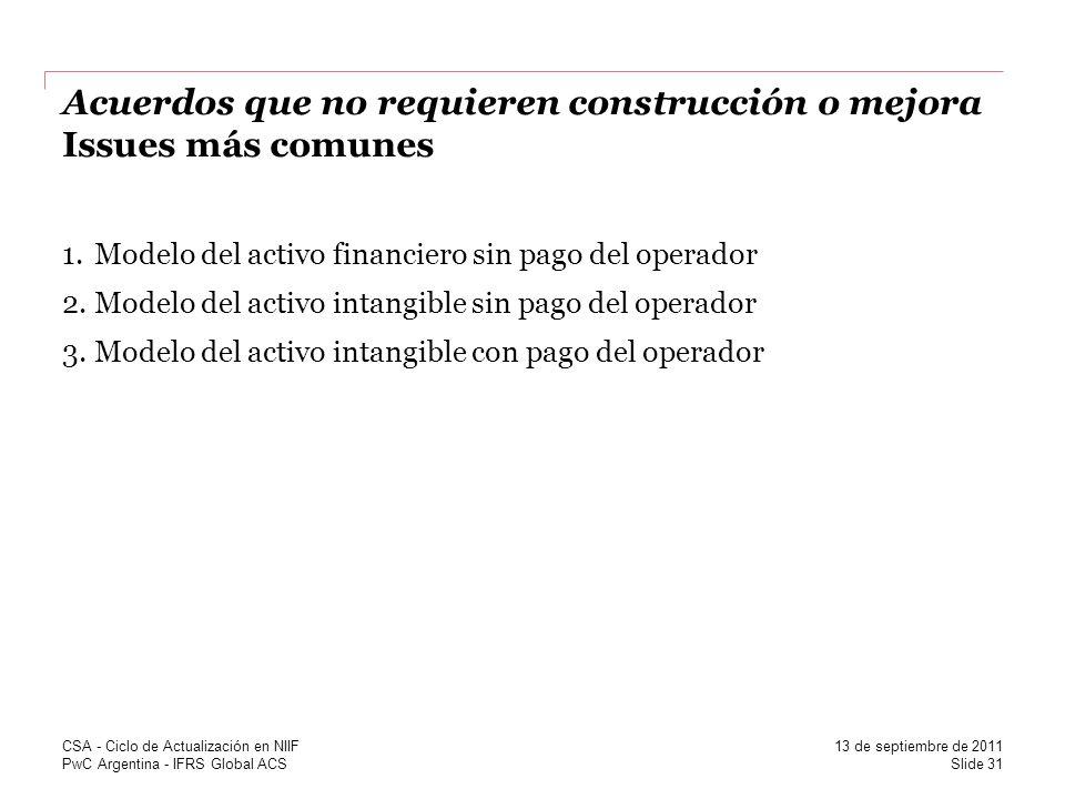 PwC Argentina - IFRS Global ACS Acuerdos que no requieren construcción o mejora Issues más comunes 1.Modelo del activo financiero sin pago del operado