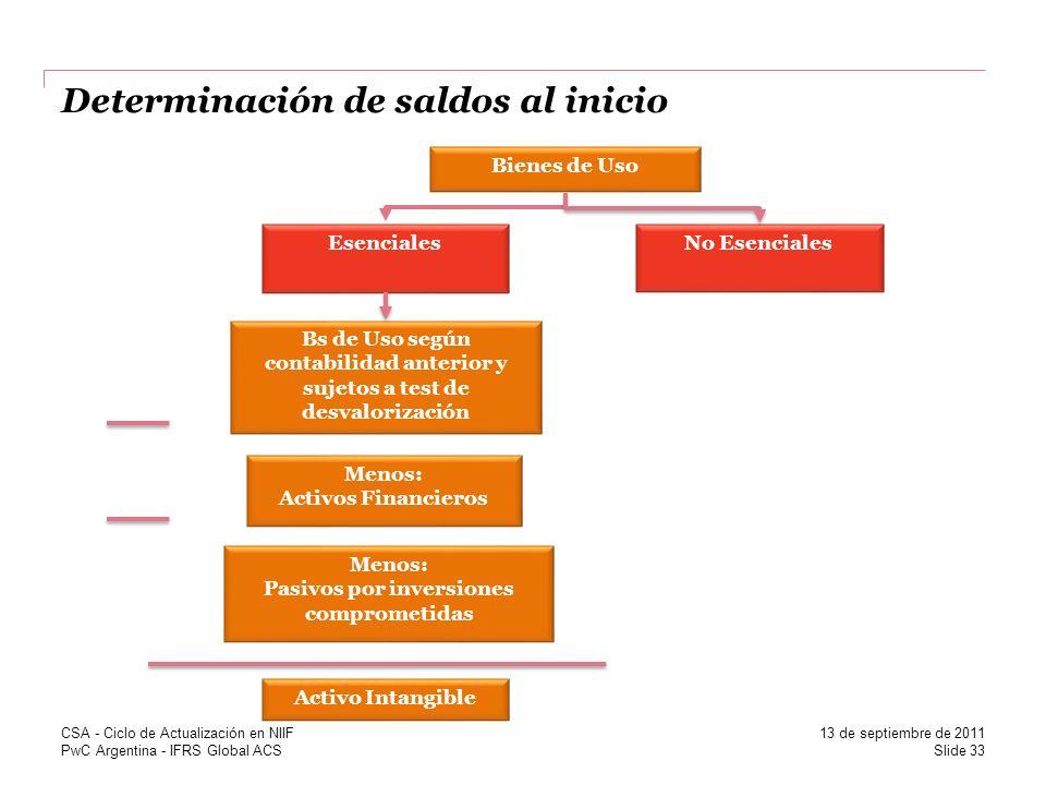 PwC Argentina - IFRS Global ACS Determinación de saldos al inicio Bienes de Uso Menos: Pasivos por inversiones comprometidas Esenciales Bs de Uso segú