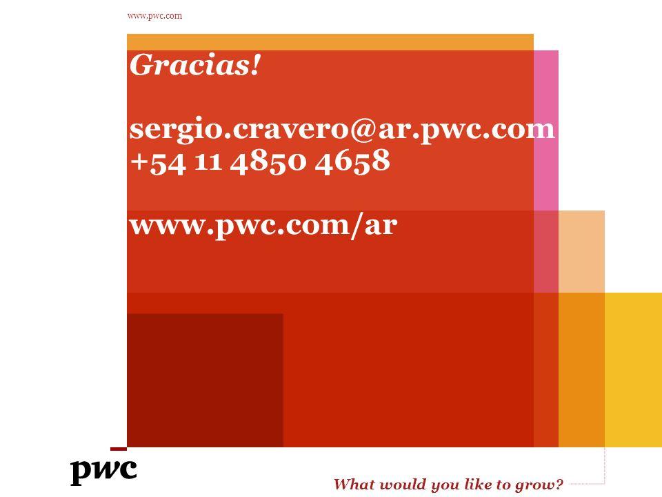 What would you like to grow? www.pwc.com Gracias! sergio.cravero@ar.pwc.com +54 11 4850 4658 www.pwc.com/ar