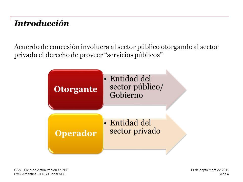 PwC Argentina - IFRS Global ACS Introducción Acuerdo de concesión involucra al sector público otorgando al sector privado el derecho de proveer servic