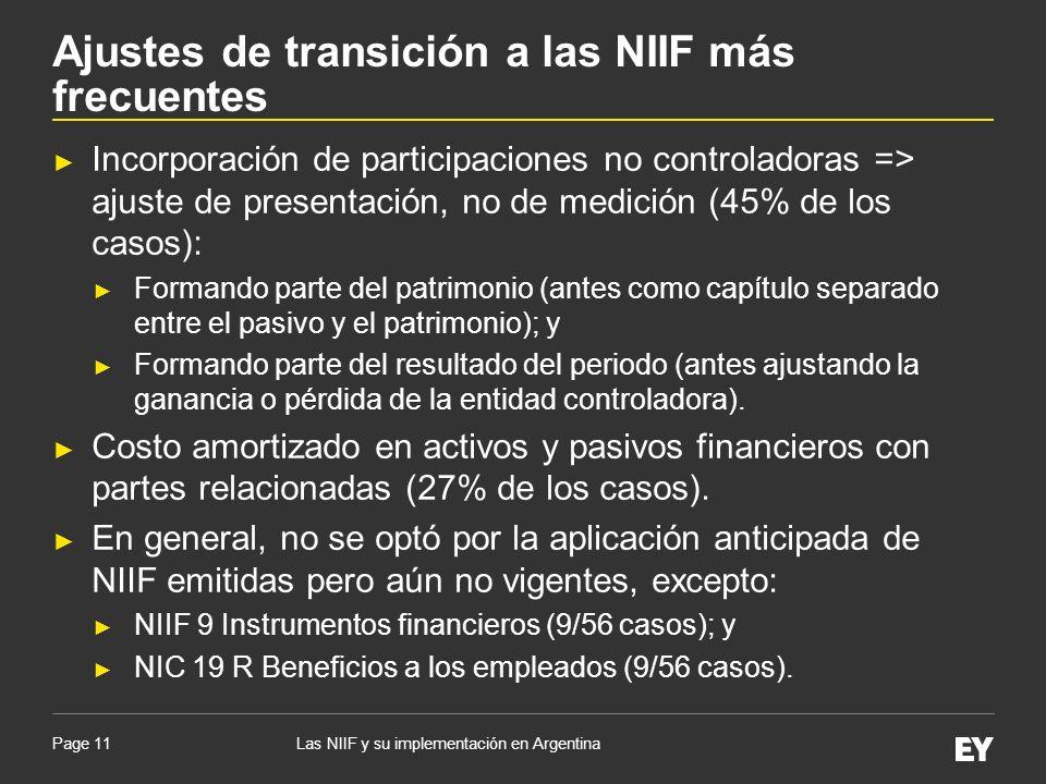 Page 11 Incorporación de participaciones no controladoras => ajuste de presentación, no de medición (45% de los casos): Formando parte del patrimonio