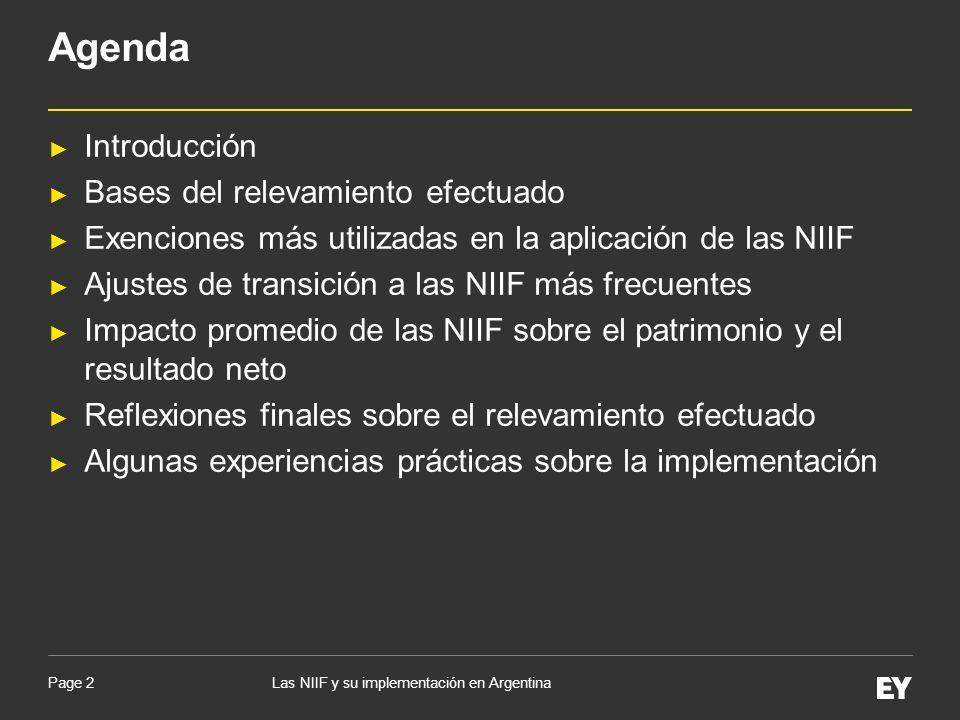 Page 23 Un estudio de EY sobre una muestra de 65 entidades con mayor ratio de capitalización de mercado (excluidas entidades bancarias) mostró: Casi un 95% de las entidades utilizó la exención de la NIIF 1 sobre aplicación no retroactiva de la NIIF 3 sobre combinaciones de negocios; Respecto de la aplicación de criterios contables alternativos permitidos por las NIIF: Negocios conjuntos (NIC 31) => Se privilegió el método de la consolidación proporcional al método de la participación; Costos por préstamos (NIC 23) => Se privilegió la imputación a resultados a la capitalización como costo de los activos aptos; Modelo de costo vs.