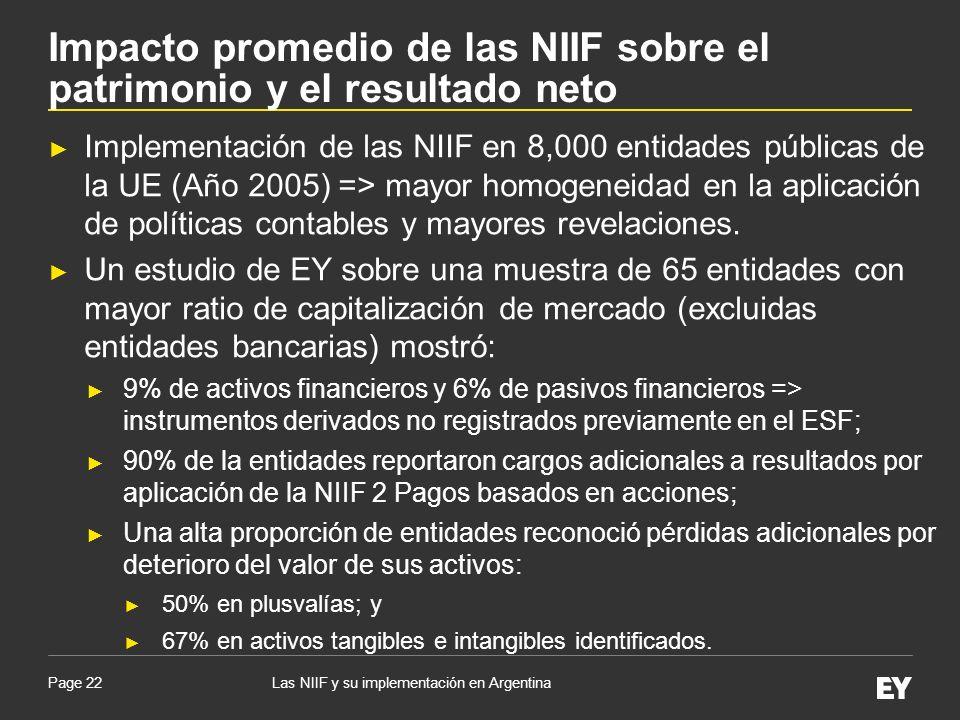 Page 22 Implementación de las NIIF en 8,000 entidades públicas de la UE (Año 2005) => mayor homogeneidad en la aplicación de políticas contables y may