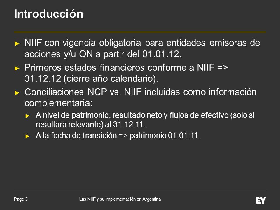 Page 3 NIIF con vigencia obligatoria para entidades emisoras de acciones y/u ON a partir del 01.01.12. Primeros estados financieros conforme a NIIF =>