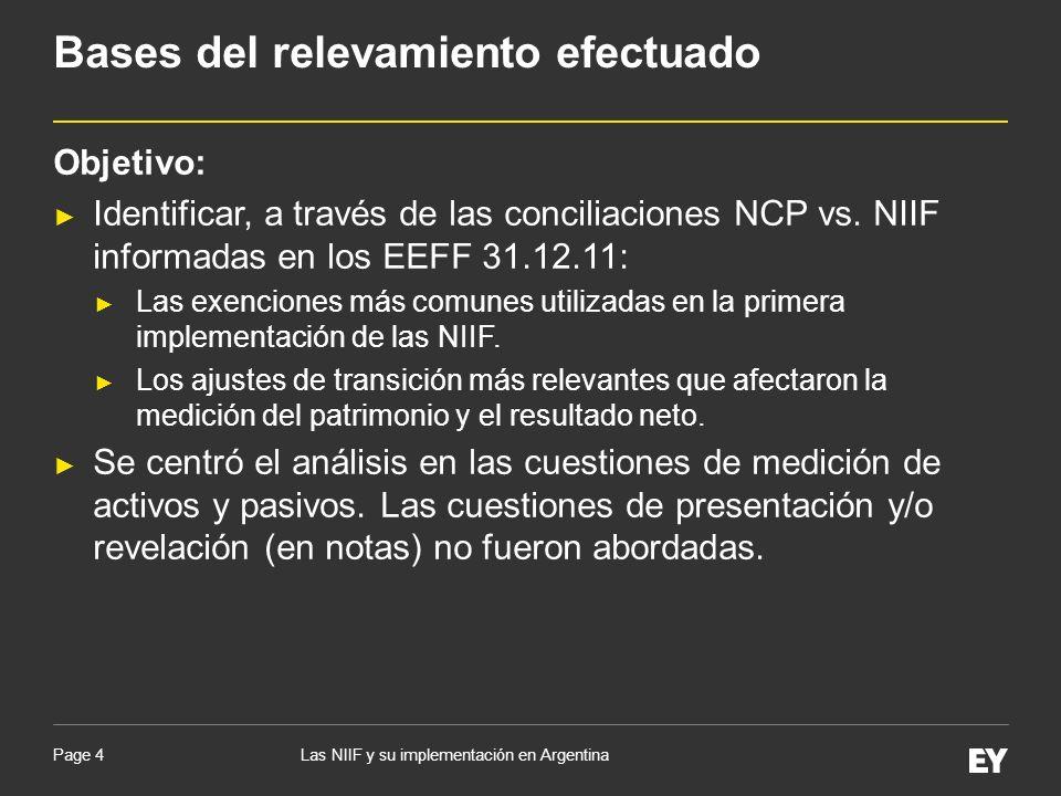 Page 4 Objetivo: Identificar, a través de las conciliaciones NCP vs. NIIF informadas en los EEFF 31.12.11: Las exenciones más comunes utilizadas en la