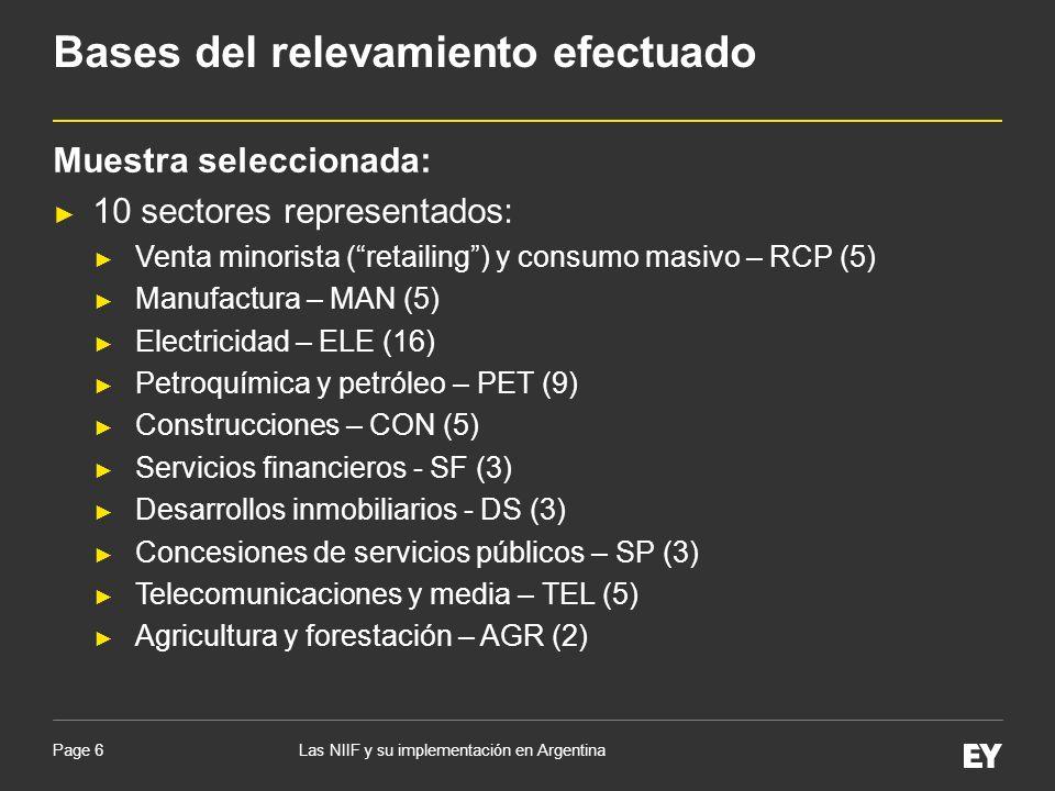 Page 7 Combinaciones de negocios anteriores a la fecha de la transición a las NIIF: 80% (20/25 casos – grupos económicos) optaron por no aplicar de manera retroactiva la NIIF 3; Diferencias por conversión acumuladas a la fecha de la transición a las NIIF: Excepto en 3 casos, el resto de las entidades y/o grupos económicos definieron al peso argentino (ARS) como su moneda funcional.