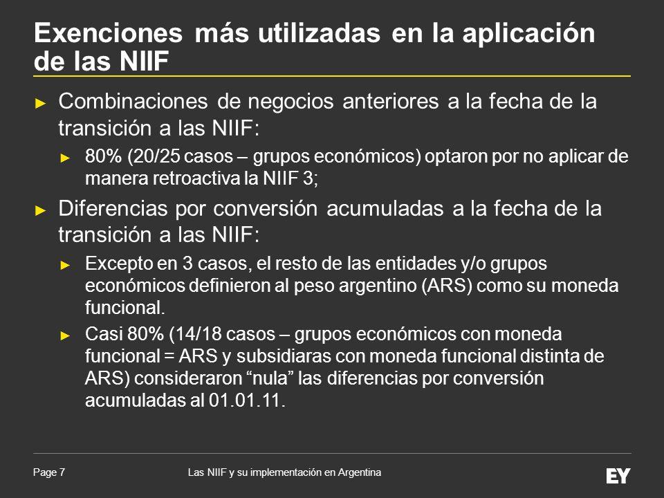 Page 7 Combinaciones de negocios anteriores a la fecha de la transición a las NIIF: 80% (20/25 casos – grupos económicos) optaron por no aplicar de ma