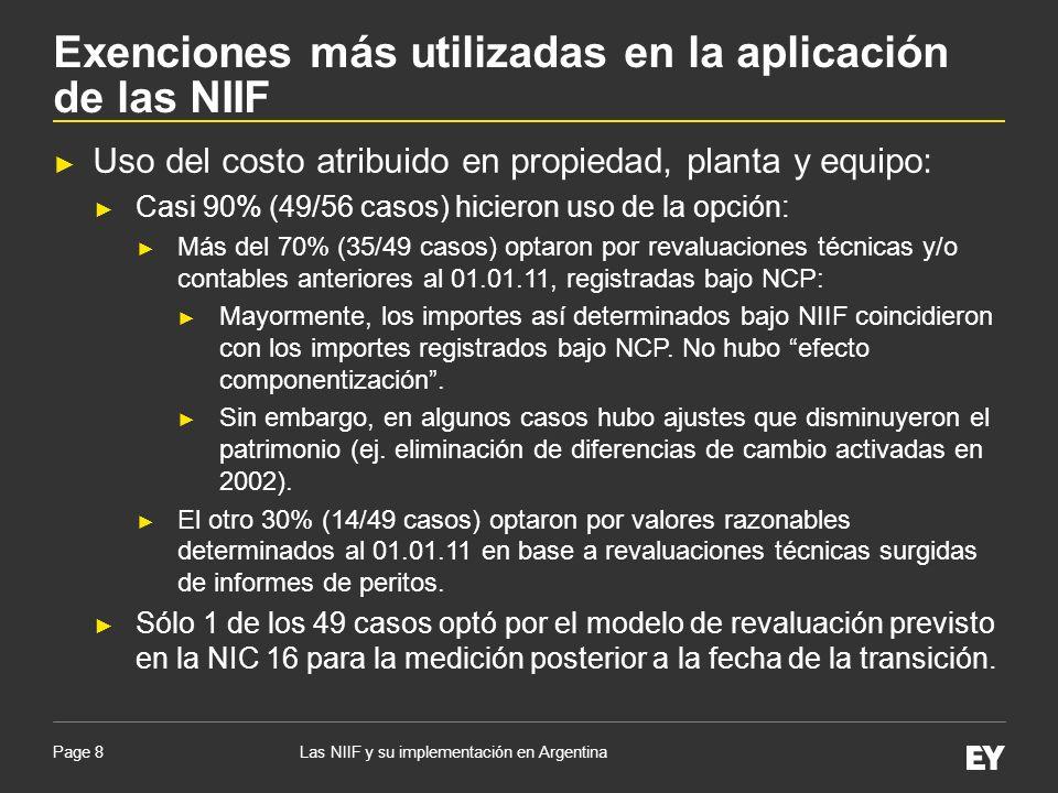 Page 8 Uso del costo atribuido en propiedad, planta y equipo: Casi 90% (49/56 casos) hicieron uso de la opción: Más del 70% (35/49 casos) optaron por