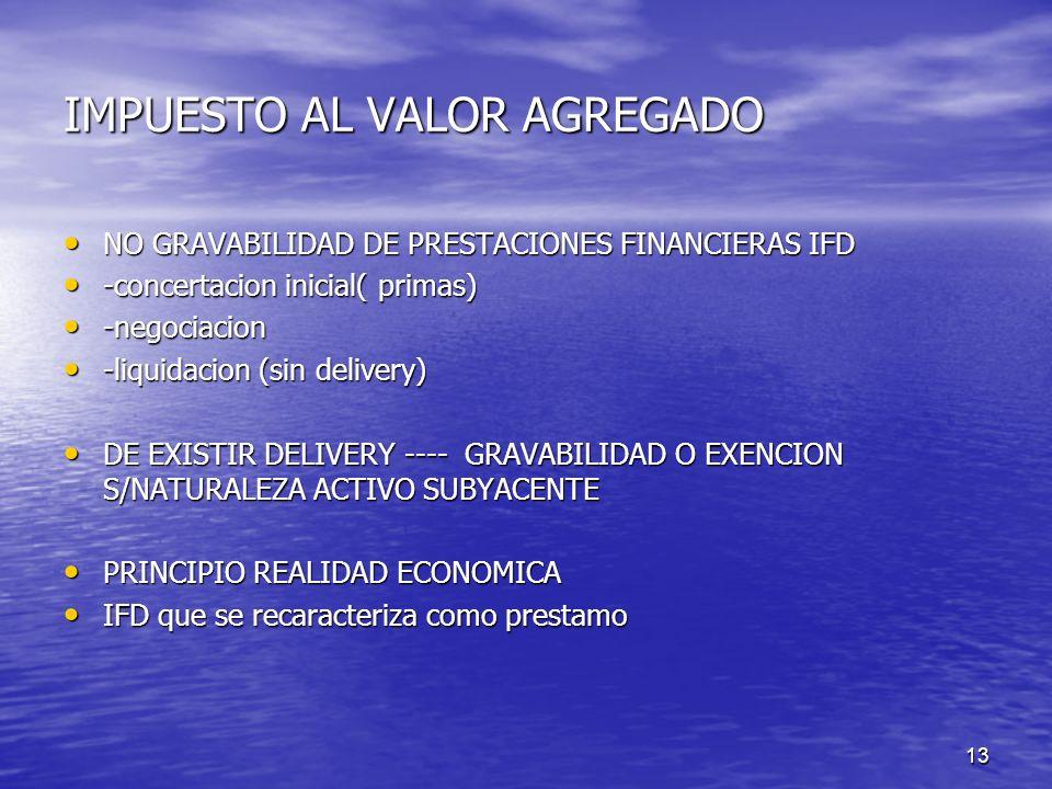 13 IMPUESTO AL VALOR AGREGADO NO GRAVABILIDAD DE PRESTACIONES FINANCIERAS IFD NO GRAVABILIDAD DE PRESTACIONES FINANCIERAS IFD -concertacion inicial( p