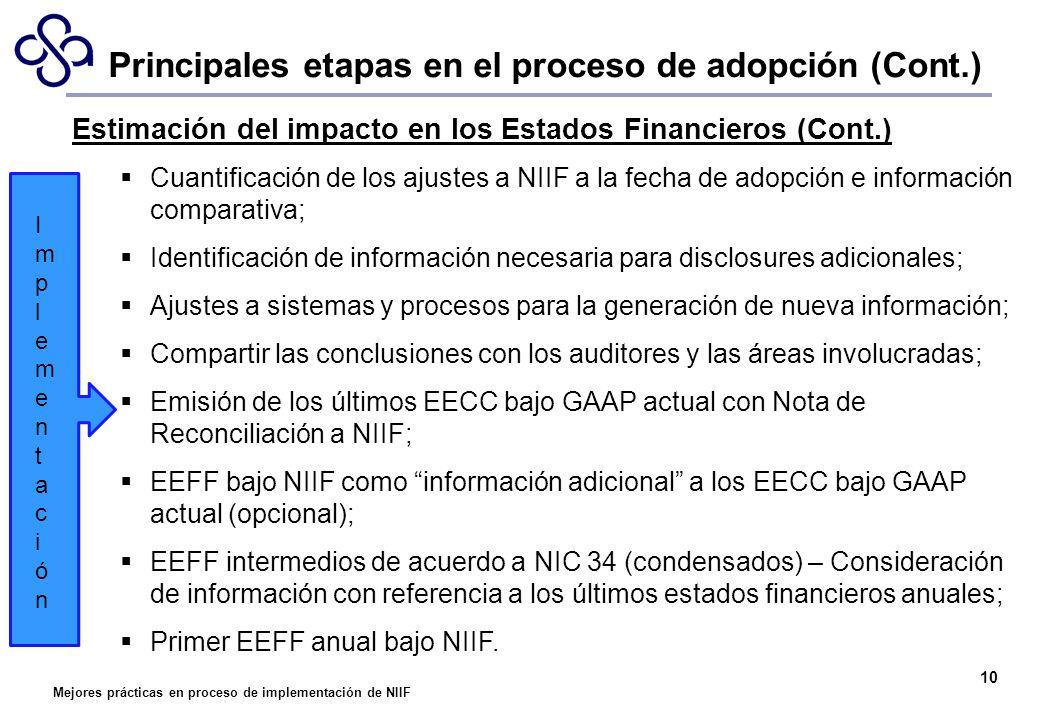 Mejores prácticas en proceso de implementación de NIIF 10 Estimación del impacto en los Estados Financieros (Cont.) Cuantificación de los ajustes a NI