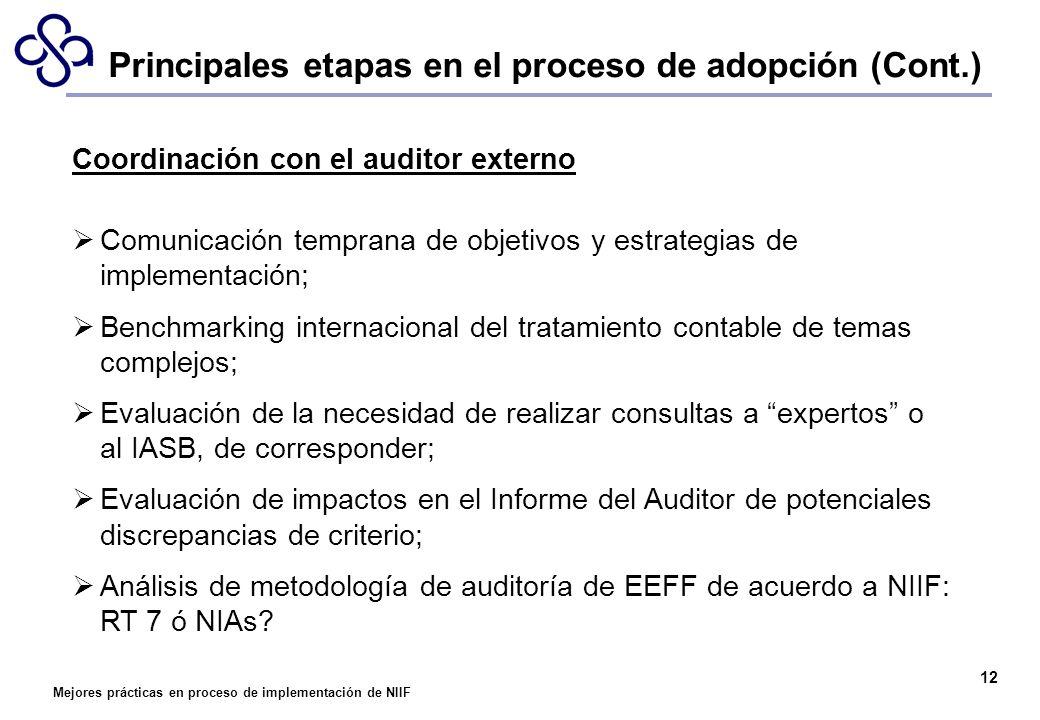 Mejores prácticas en proceso de implementación de NIIF 12 Coordinación con el auditor externo Comunicación temprana de objetivos y estrategias de impl