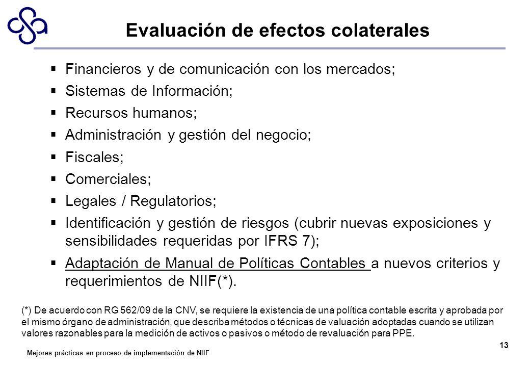 Mejores prácticas en proceso de implementación de NIIF 13 Financieros y de comunicación con los mercados; Sistemas de Información; Recursos humanos; A