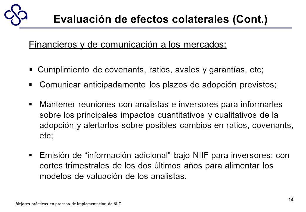 Mejores prácticas en proceso de implementación de NIIF 14 Financieros y de comunicación a los mercados: Cumplimiento de covenants, ratios, avales y ga