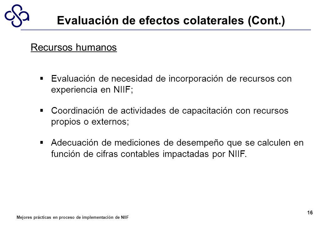Mejores prácticas en proceso de implementación de NIIF 16 Recursos humanos Evaluación de necesidad de incorporación de recursos con experiencia en NII