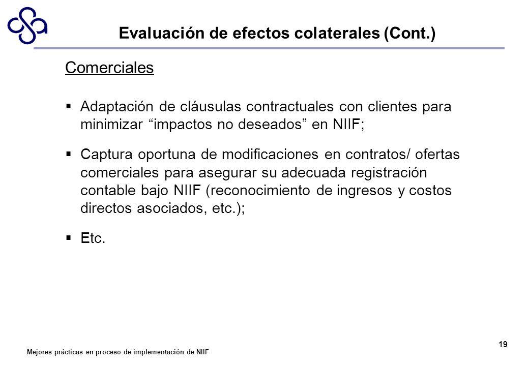 Mejores prácticas en proceso de implementación de NIIF 19 Comerciales Adaptación de cláusulas contractuales con clientes para minimizar impactos no de