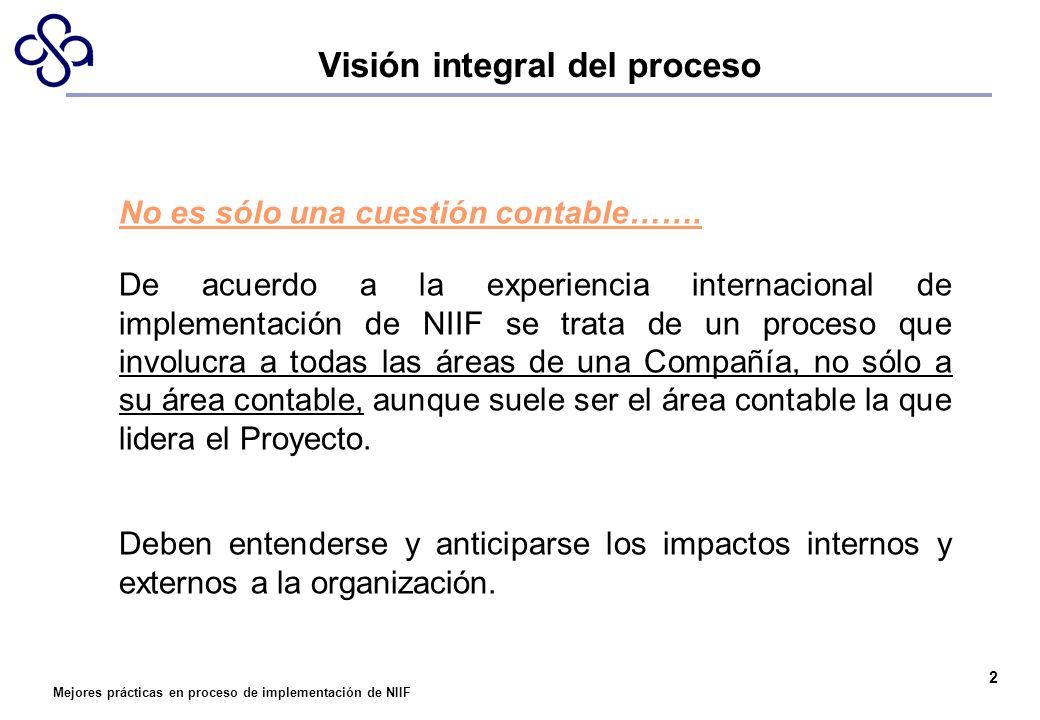 Mejores prácticas en proceso de implementación de NIIF No es sólo una cuestión contable……. De acuerdo a la experiencia internacional de implementación