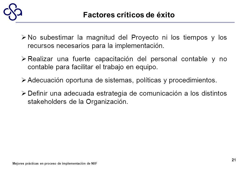 Mejores prácticas en proceso de implementación de NIIF 21 Factores críticos de éxito No subestimar la magnitud del Proyecto ni los tiempos y los recur