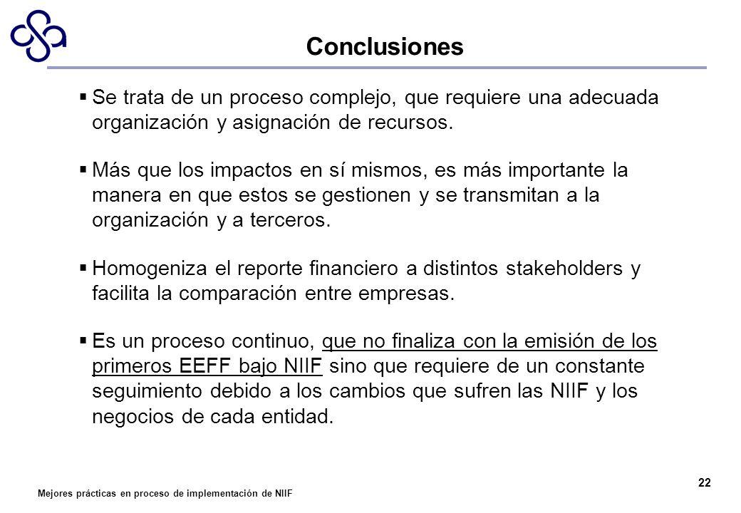 Mejores prácticas en proceso de implementación de NIIF 22 Conclusiones Se trata de un proceso complejo, que requiere una adecuada organización y asign