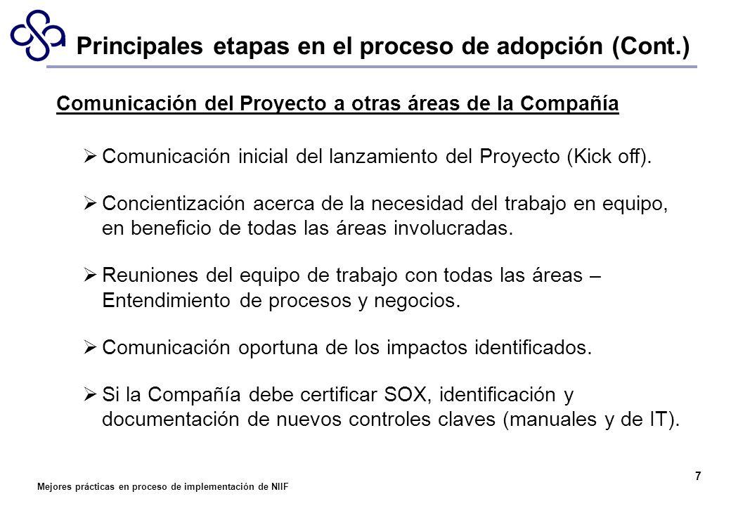 Mejores prácticas en proceso de implementación de NIIF 7 Comunicación del Proyecto a otras áreas de la Compañía Comunicación inicial del lanzamiento d