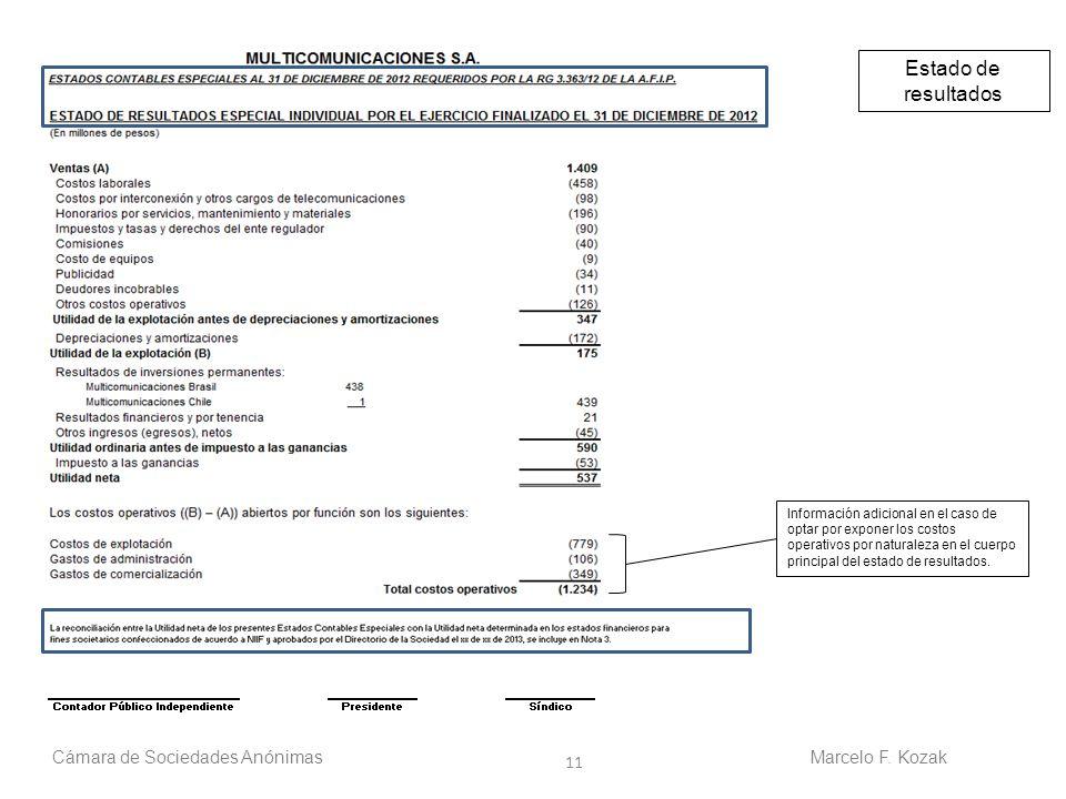 11 Cámara de Sociedades AnónimasMarcelo F. Kozak Estado de resultados Información adicional en el caso de optar por exponer los costos operativos por
