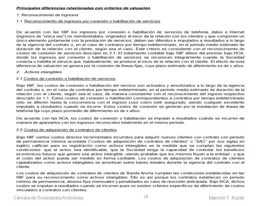 18 Cámara de Sociedades Anónimas Marcelo F. Kozak